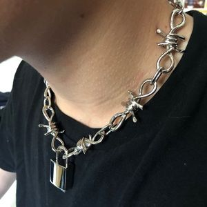 Barbed wire padlock choker necklace